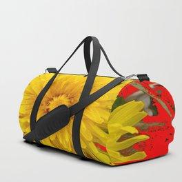 DECORATIVE  YELLOW DANDELION BLOSSOM ON ORGANIC RED ART Duffle Bag