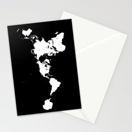 Dymaxion World Map (Fuller Projection Map) - Minimalist White on Black Stationery Cards