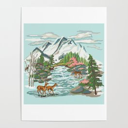 Paint by Number Mountain Medow Poster