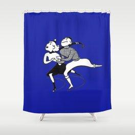 Mid-Century Skater Couple Shower Curtain