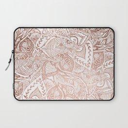 Chic hand drawn rose gold floral mandala pattern Laptop Sleeve