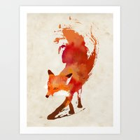 one line Art Prints featuring Vulpes vulpes by Robert Farkas