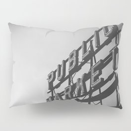 Seattle Pike Place Public Market Black and White Pillow Sham
