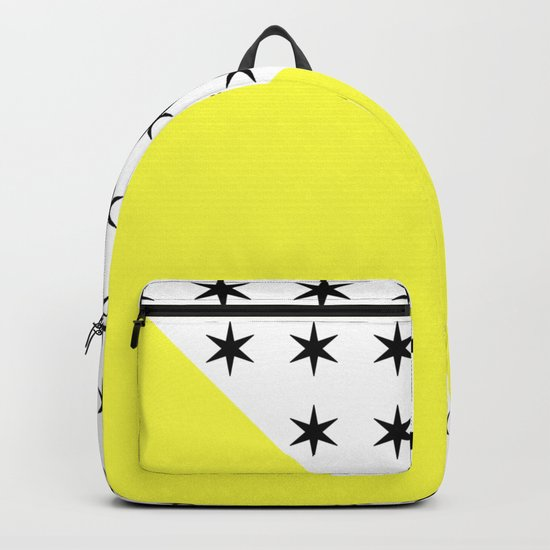 Black Stars And Sunshine Yellow - Colourful pattern Backpack