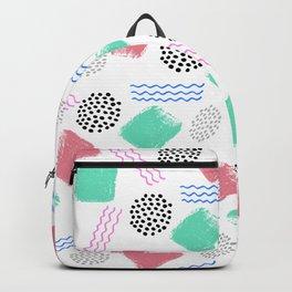 Geometrical pink teal black Memphis 80's pattern Backpack
