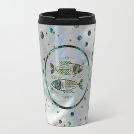 Pisces Zodiac Gold Abalone on Constellation Travel Mug