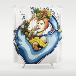 Refresh Food Co Mural, Gainesville FL // Carmen Miranda Vintage Tropical Pinup Woman Feminine Fruit Shower Curtain