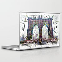 brooklyn bridge Laptop & iPad Skins featuring brooklyn bridge by Vector Art