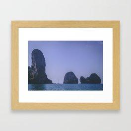 Sailing Between the Rocks Framed Art Print
