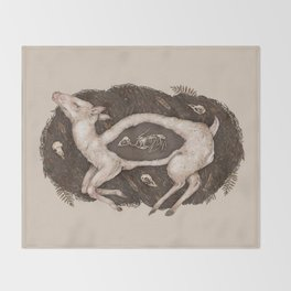 Predaceous Herbivore, Ghost Deer Throw Blanket