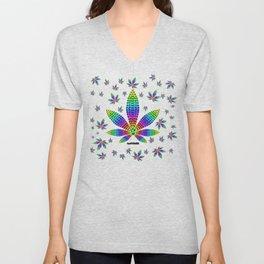 Rainbow Gems Cannabis Leaf Unisex V-Neck