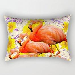MODERN CREAM-YELLOW ART FLAMINGO  FLORAL PURPLE  ABSTRAC Rectangular Pillow