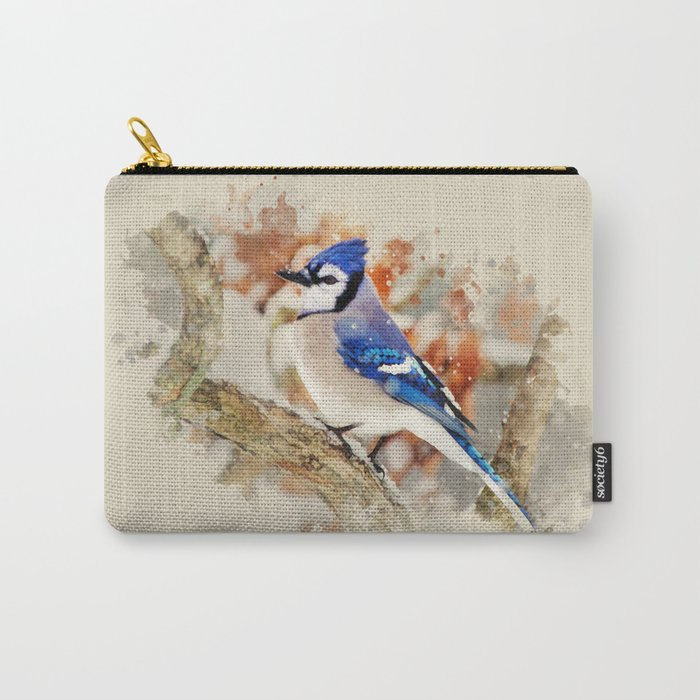 Watercolor Blue Jay Art Carry-All Pouch
