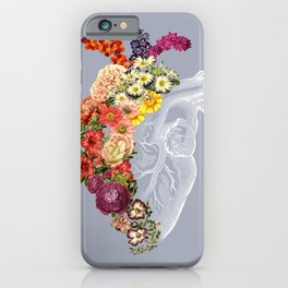 Flower Heart Spring Light Grey iPhone Case
