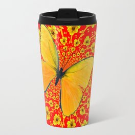 BUTTERFLIES RED  AMARYLLIS FLOWERS ABSTRACT ART Travel Mug