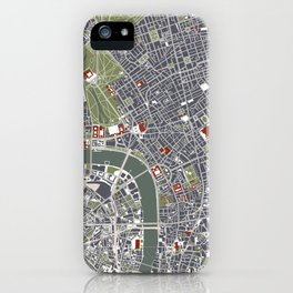 London city map engraving iPhone Case