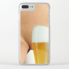 Beer and Naked Woman Clear iPhone Case