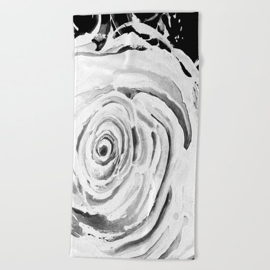 Roses For A Romantic Heart, Black and White Beach Towel