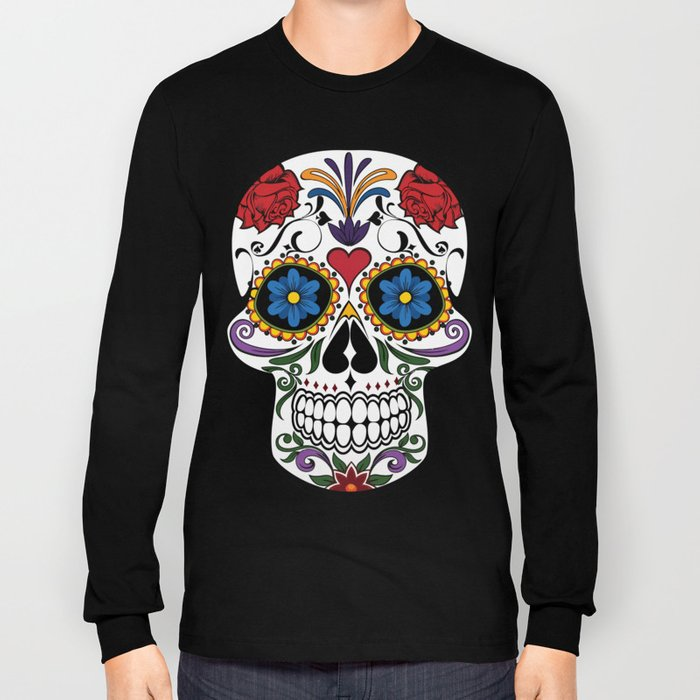 Colorful Sugar Skull Long Sleeve T-shirt