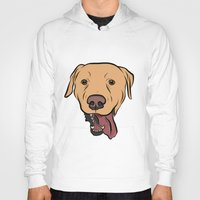 levi Hoodies featuring Levi the Yellow Lab by Rachel Barrett