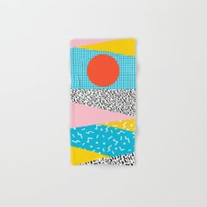 Check it - good vibes happy smiles fun modern memphis throwback art 1980's 80's 80s 1980s 1980 neon  Hand & Bath Towel