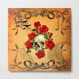 Skull with roses Metal Print