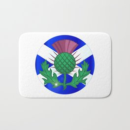 Scotish Flag And Thistle Button Bath Mat