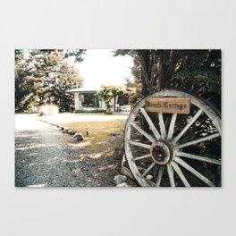 Wooden Beech Cottage Wheel - Lake Tekapo, New Zealand Canvas Print