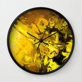 Yellow Lily Golden Light Flower Maelstrom Wall Clock