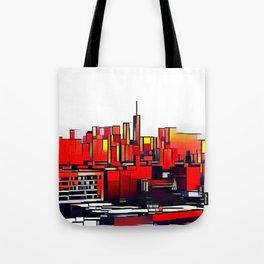 Mondrian Mosaic of Manhattan in Orange and Yellow Tote Bag