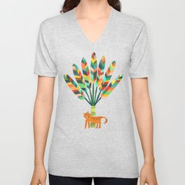 Whimsical travelers palm with tiger Unisex V-Neck