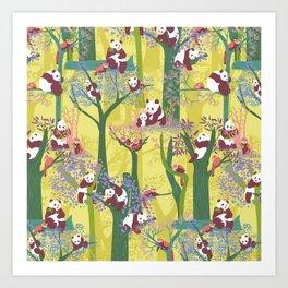 Both Species of Panda - Yellow Art Print