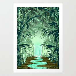 Fluorescent Waterfall on Surreal Bamboo Forest Art Print