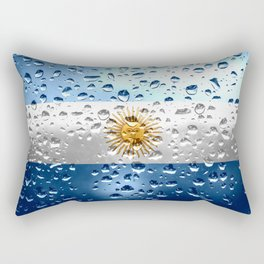 Flag of Argentina - Raindrops Rectangular Pillow