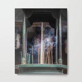 Burning Incense Metal Print