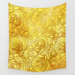 Gold Floral Pattern Wall Tapestry