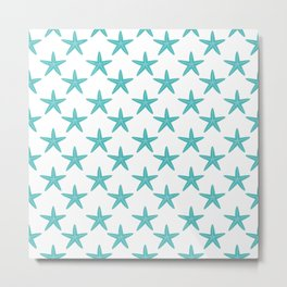 Starfishes (Teal & White Pattern) Metal Print