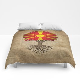 Vintage Tree of Life with Flag of Macedonia Comforters