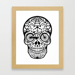 Vintage Mexican Skull with Bicycle - black and white Framed Art Print
