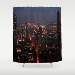 Chicago Night Lights/Hancock Tower View #1 (Chicago Architecture Collection) Shower Curtain