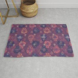 Lotus flower - mulberry woodblock print style pattern Rug