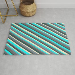 Dark Slate Gray, Bisque, Aqua, Light Slate Gray, and Dim Grey Colored Striped/Lined Pattern Rug