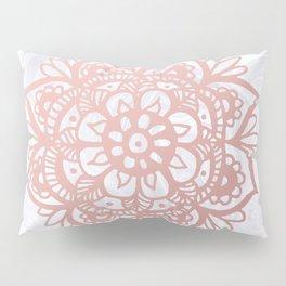Rose Gold Mandalas on Marble Pillow Sham