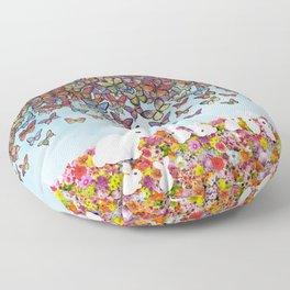 bunnies, flowers, and butterflies Floor Pillow