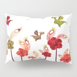 Imaginary Vintage Feather Flower Dragons Pillow Sham