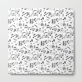 Doodle pattern with hand drawn music notes. Metal Print