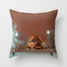 Kiruna Church In the Winter Snow Throw Pillow