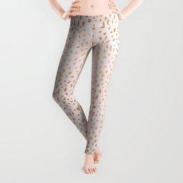 Pink Texture Gold Foil Luminous Leggings