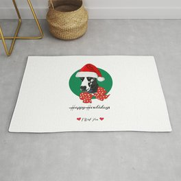 Happy Howlidays-I Wuf You Great Dane dog Rug