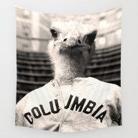 baseball Wall Tapestries featuring Baseball Ostrich by Luigi Tarini